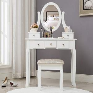 HONBAY Makeup Vanity Table Set, Cushioned Stool and Surprise Gift