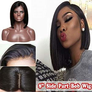 8 Inch Bob Human Hair Lace Front Wig Short Side Part Brazilian Virgin Hair