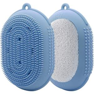 AOMUU Silicone Body Brush, 2 in 1 Exfoliating Body Scrubber and Loofah Bath