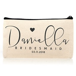 Personalized Cosmetic Bag Travel Makeup Pouch Wedding Bridal Party