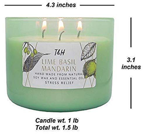 """T&H Stress Relief Aromatherapy Candles 3 Wick Pure Soy Wax Scented Candle The Final Dwelling Accent. This Luxurious candle is so lovely, so advanced, so intriguing and actually magnificent....it is going to confound and encourage you all on the similar time . This can be a delicate scent, enhancing stress reduction and rest. It's not dominant or overpowering, however reasonably....fantastically delicate. The unique fragrances infuse the compelling scent of Lime, Basil & Mandarin all through your rooms to appease your thoughts. The Base be aware of sandalwood and vetiver oil present an air of luxurious, remodeling the environment with emotions of heat and opulence. This Luxurious perfumed candle fills your private home with an uplifting scent of peppery basil & zesty mandarin. The scent will evoke a sensation of a heat sea breeze on a white sandy seashore. The scent burns cleanly and soot-free. You'll really feel alive once more, invigorated and renewed. T&H candles are made with non-toxic soy based mostly wax Our wicks are pure lead-free cotton wicks Our fragrances are triple scented Vegan pleasant Not examined on animals Hand poured by T&H Candle Craftsmen with Love. Burns for as much as 80 hours. Fantastically packaged in an Artisan designed field in a GIANT 17ozDecorative Glass Jar..... The Excellent Present for Weddings, Birthdays, Moms Day or to simply say, """"Thanks"""". Prime be aware: Grapefruit, Recent Ginger, Blue Tangerine, Lime, Basil Coronary heart be aware: White Tarragon, Saffron, Sicilian Blue Sage, Mandarin Base be aware: Sandalwood, Vetiver, Egyptian musk Indulge Your Senses Take pleasure in one in all Life's Little Luxuries Take pleasure in feeling lovely once more ...with T&H."""
