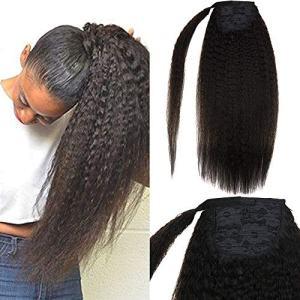 "LaaVoo 18"" Natural Black Real Human Hair Kinky Straight Ponytail"