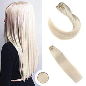 Ugeat 20 Inch Real Human Hair Clip in Extensions Solid Color Platinum