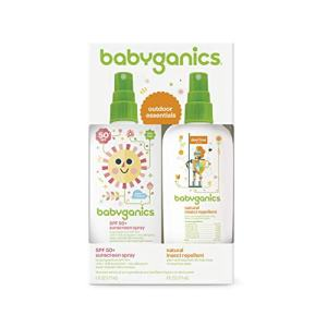 Babyganics Baby Sunscreen Spray SPF 50, 6oz Spray Bottle + Natural Bug Spray