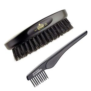 Kent Finest Men's MN11 Classic Oval Ebony Wood Black Bristle Hair Brush