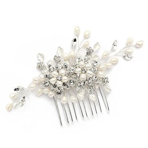 Mariell Genuine Freshwater Pearl Wedding Hair Comb