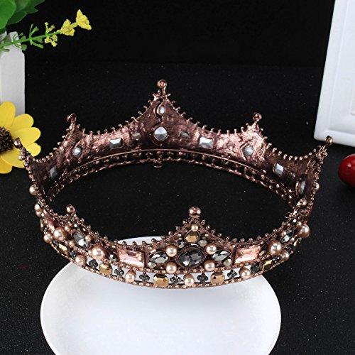 FUMUD Baroque Vintage Black Rhinestone Beads Round Big Crown Wedding Hair