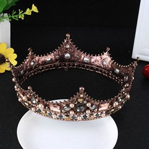 FUMUD Baroque Vintage Black Rhinestone Beads Round Big Crown Wedding Hair