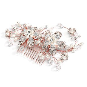 Mariell Vintage Wedding Rose Gold Hair Comb for Brides