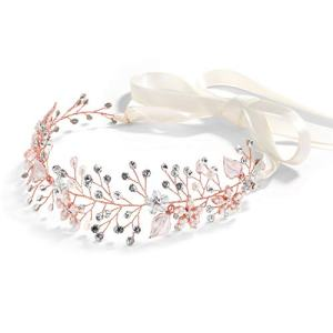 Mariell Rose Gold Freshwater Pearl and Crystal Bridal Hair