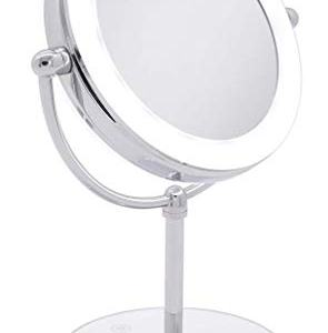 Milzie Portable Double Sided Vanity Makeup Mirror with Natural White LED Lights