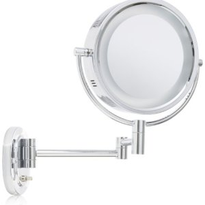 Jerdon 8-Inch Lighted Wall Mount Makeup Mirror