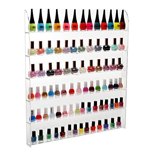 MyGift (102 Bottles) 6 Shelf Pro Clear Acrylic Nail Polish Rack/Salon