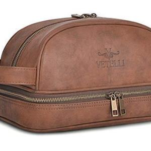 Vetelli Leather Toiletry Bag For Men (Dopp Kit) with free Travel Bottles