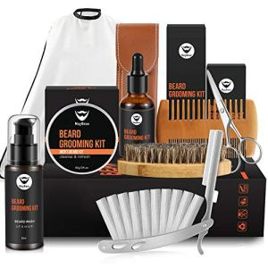 MayBeau Upgraded Mens Beard Grooming Kit,Straight Razor