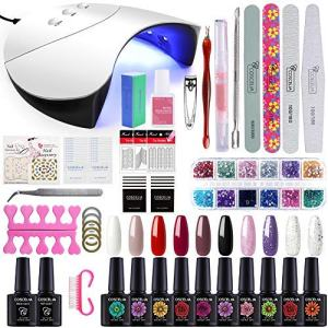 Gelongle 10 Colors Gel Polish Starter Kit 36W LED UV Nail Dryer