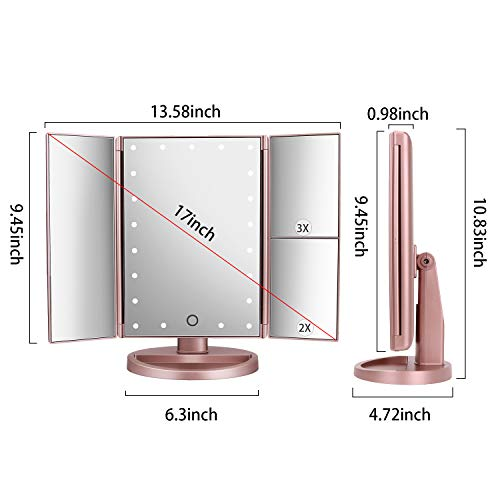 deweisn Tri-Fold Lighted Vanity Makeup Mirror with 21 LED Lights,3X/2X Magnification Mirror,Touch Sensor Switch, Two Power Supply Mode Tabletop Makeup Mirror,Travel Cosmetic Mirror (Rose Gold) Product Description