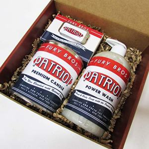 Fury Bros. Premium Gift Box with Candle, Power Wash, Bar Soap, and Tag Cologne