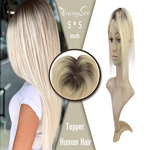 【New Arrivial】YoungSee 10inch Crown Top Hairpiece for Hair Loss Ombre Darker
