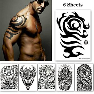 Leoars Black Large Temporary Tattoos, Big Tribal Totem Tattoo Sticker