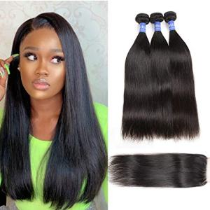 Straight Remy Human Hair Bundles with Closure 100% Unprocessed Brazilian