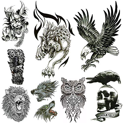 Large Temporary Tattoos for Men Body Stickers Fake Arm Chest Shoulder Leg Tattoo