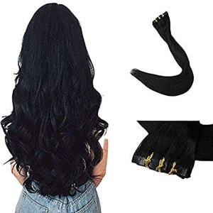 Full Shine 8 Pieces 20 inch 120g Color #1 Jet Black Seamless Hair Extensions Clip
