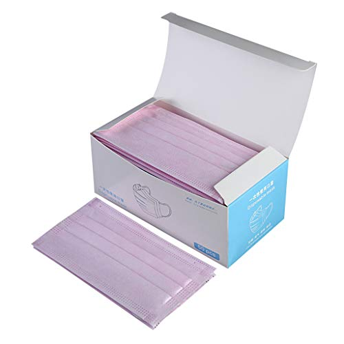 Strong Protection Masks 50 PC Disposable Medical Sanitary Surgical Face Masks/Hypoallergenic Thick 3-Ply Cotton Filter Mask (Pink)