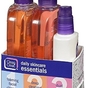 Clean & Clear Daily Acne Skincare Essentials Set with Foaming Facial Cleanser, Deep Cleaning Astringent & Dual Action Moisturizer, Oil-Free, 3 items