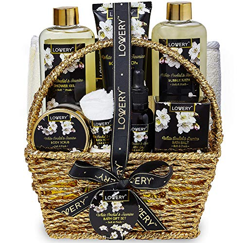 Bath and Body Gift Basket for Women and Men - Orchid and Jasmine Home Spa