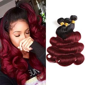Ombre Wine Red Bundle 99j Body Wave Hair Bundle Brazilian Virgin Human Hair