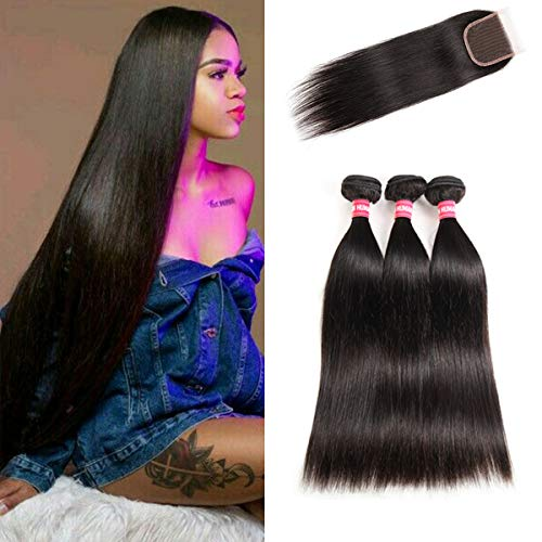 LONG YAO Brazilian Virgin Straight Human Hair 3 Bundles