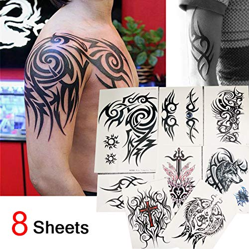 Kotbs 8 Sheets Waterproof Large Temporary Tattoos Men Tribal Totem Tattoo Sticker