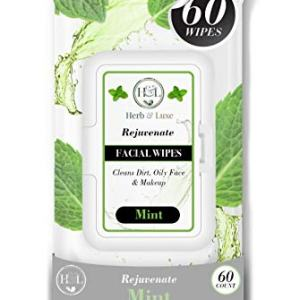 Herb & Luxe Face Wipes, Flip-Top Makeup Remover Facial Cleansing Wipes
