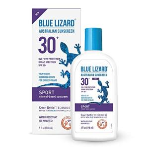 Blue Lizard Sport Mineral-Based Sunscreen - No Oxybenzone, No Octinoxate - SPF 30+ UVA/UVB Protection, 5 oz