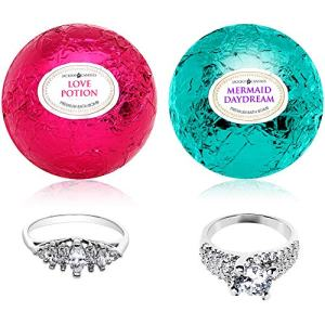 Mermaid Love Potion Bath Bombs Gift Set of 2 with Size 8 Ring Surprise