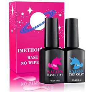Gel Polish Top and Base Coat - iMethod No Wipe Top Coat and Base Coat Set