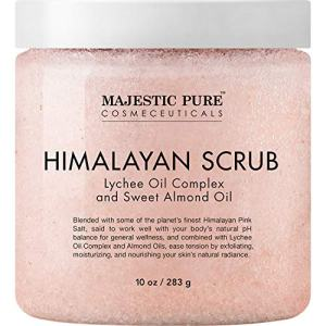 Majestic Pure Himalayan Salt Body Scrub with Lychee Oil, Exfoliating Salt Scrub