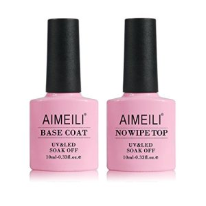 AIMEILI Gel Nail Polish No Wipe Top and Base Coat Set Soak Off UV LED Gel Nail