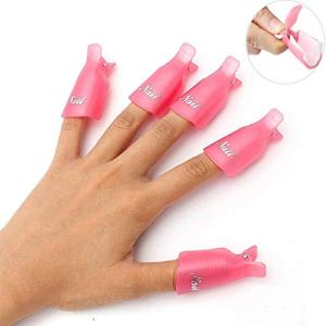 HiMo 10PC Plastic Acrylic Nail Art Soak Off Cap Clip UV Gel Polish Remover