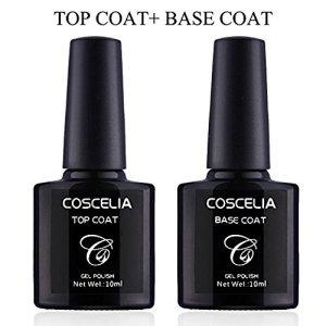 Coscelia UV/LED Soak Off Gel Nail Polish Top Coat and Base Coat Nail Art Set