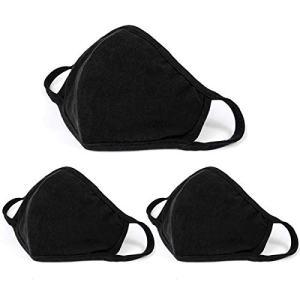 Aooba 3 Pcs Fashion Protective Face Masks, Unisex Black Dust Cotton Mouth Masks