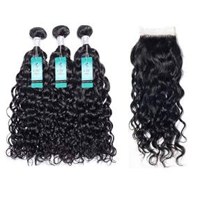 Water Wave Human Hair Bundles with Closure, UDU Malaysian Ocean Wave Wet