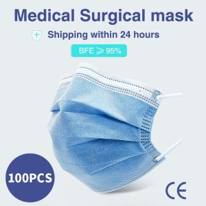 Disposable Medical surgical Mask elastic ear loop 3-layer filter non-woven Anti-dust and breathable protective mouth face mask