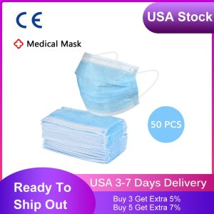 USA Stock 50pcs Non-woven 3 Layer Filter Disposable Medical Mask Safe Breathable Dustproof Protective Earloop Face Mask