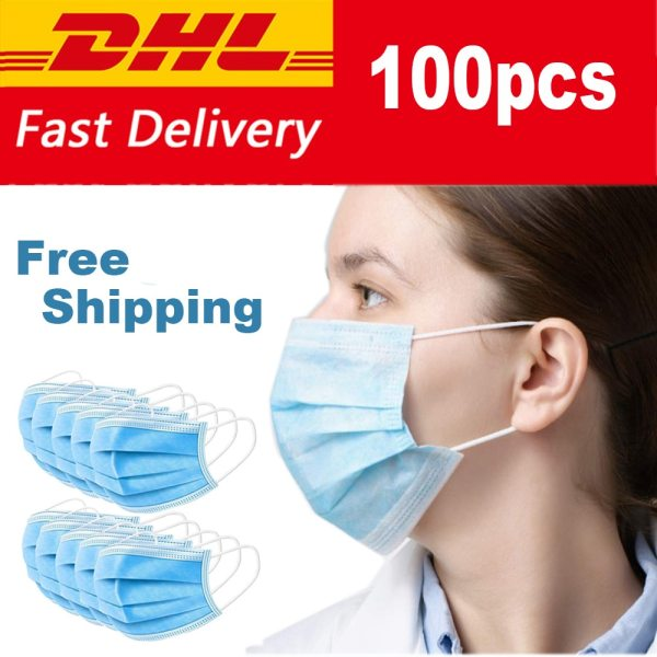 100pcs Disposable 3-Ply Anti-Dust Disposable Surgical Medical 100pcs Disposable 3-Ply Anti-Dust Disposable Surgical Medical Earloop Face Mouth Masks