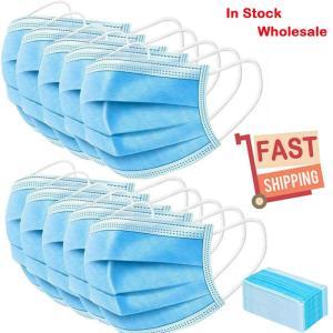 US STOCK! Fast Deliver 100PCS Disposable 3 Layer Face Masks Medical Masks Medical Earloop Mouth Masks For Anti-PM2.5