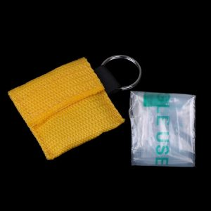 2Pcs/set Keychain Emergency Face Shield First Aid CPR Mask Medical CPR Resuscitator Mask for Outdoor Survival First Aid