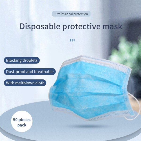 100PCS Disposable Medical Mask Non Woven Anti-dust Mouth Face Masks Safe 3-Ply Breathable Protetive Mask White/Blue