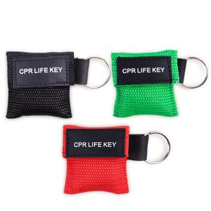 3Pcs First Aid Medical CPR Rescue Mask Keychain Emergency CPR Face Shield Disposable Resuscitation Mask Health Care Tool 3 Color
